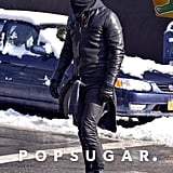 Justin Theroux protected himself from the cold on Tuesday.