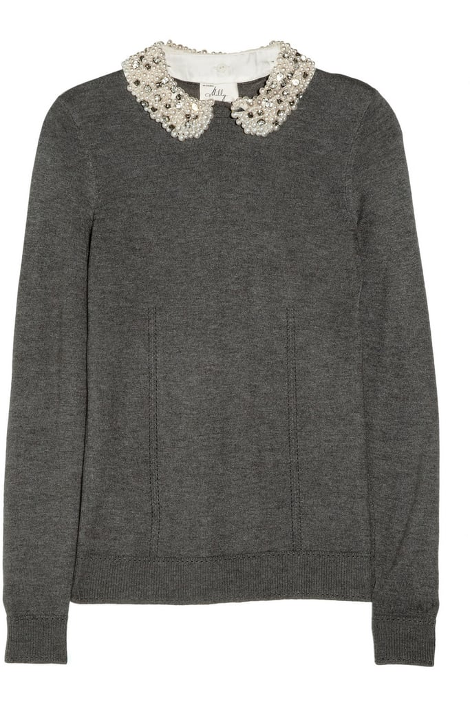 This Milly Embellished-Collar Jersey Sweater ($395) will appeal to her charming personality with its precious, embellished collar.
