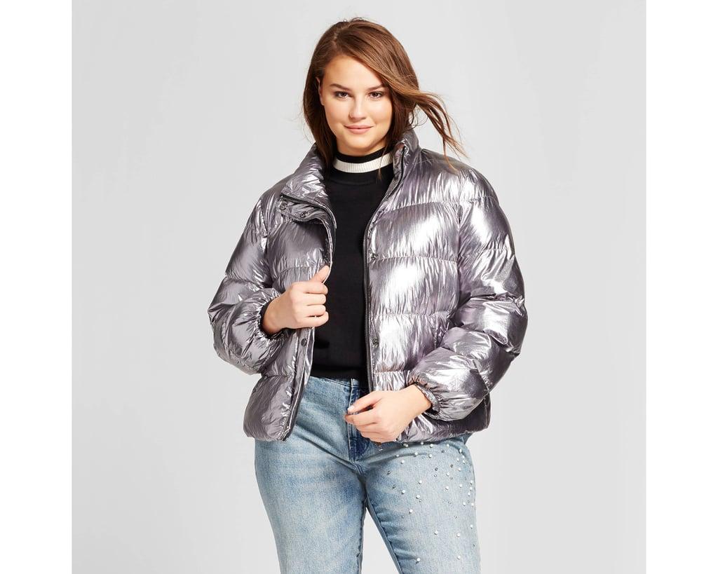 140caaed7b5 Who What Wear Plus Size Boxy Metallic Puffer Jacket