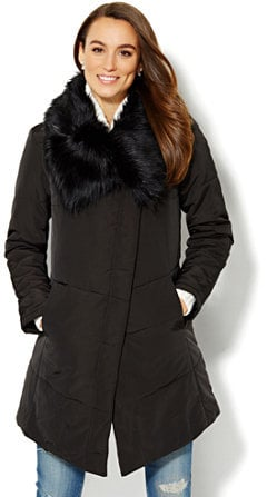 $ Faux-Fur Collar Puffer Coat ($75, originally $150)