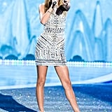 Taylor Swift performing on the runway.