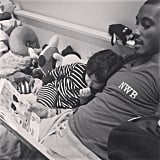 """Doutzen Kroes shared a sweet shot of Sunnery and Phyllon James reading in bed, writing, """"Happy #fathersday love you so much @sunneryjames #heitedei #vaderdag."""" Source: Instagram user doutzen"""