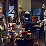 """Hart of Dixie Joel (Josh Cooke) as a gladiator, Annabeth (Kaitlyn Black), Zoe (Rachel Bilson) as Cleopatra, and Lavon (Cress Williams) as himself on Hart of Dixie's Halloween episode, """"Help Me Make It Through the Night."""""""