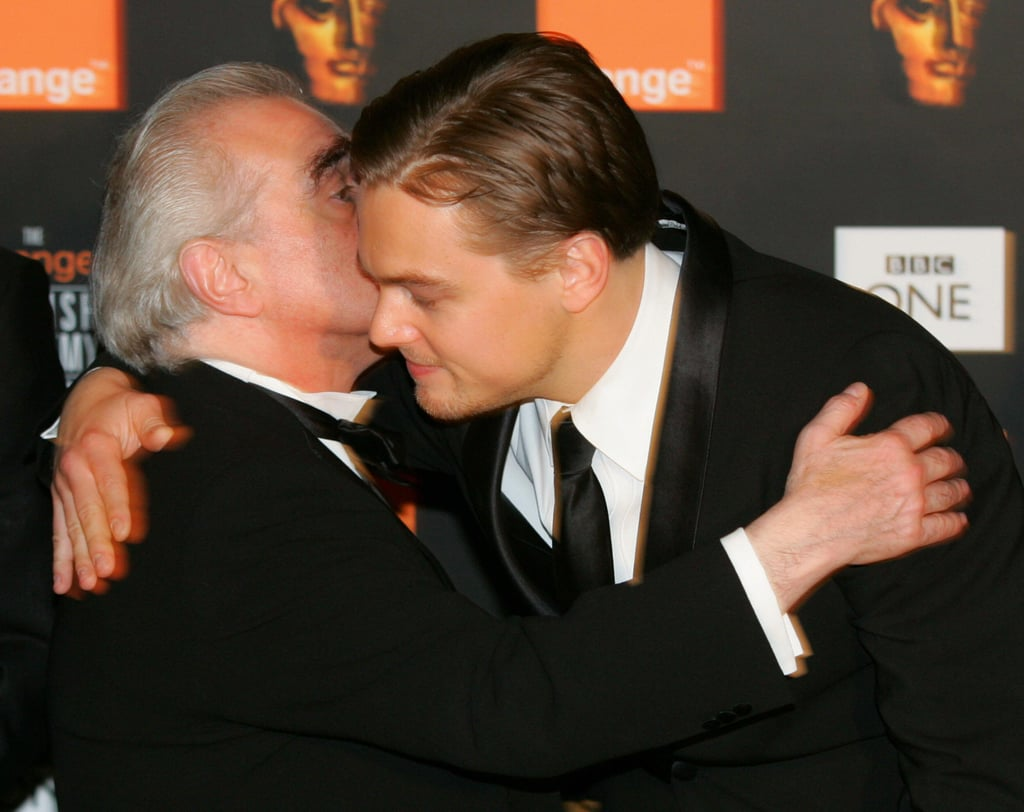 Leonardo DiCaprio held onto his longtime collaborator Martin Scorsese at the BAFTA Awards in February 2005.
