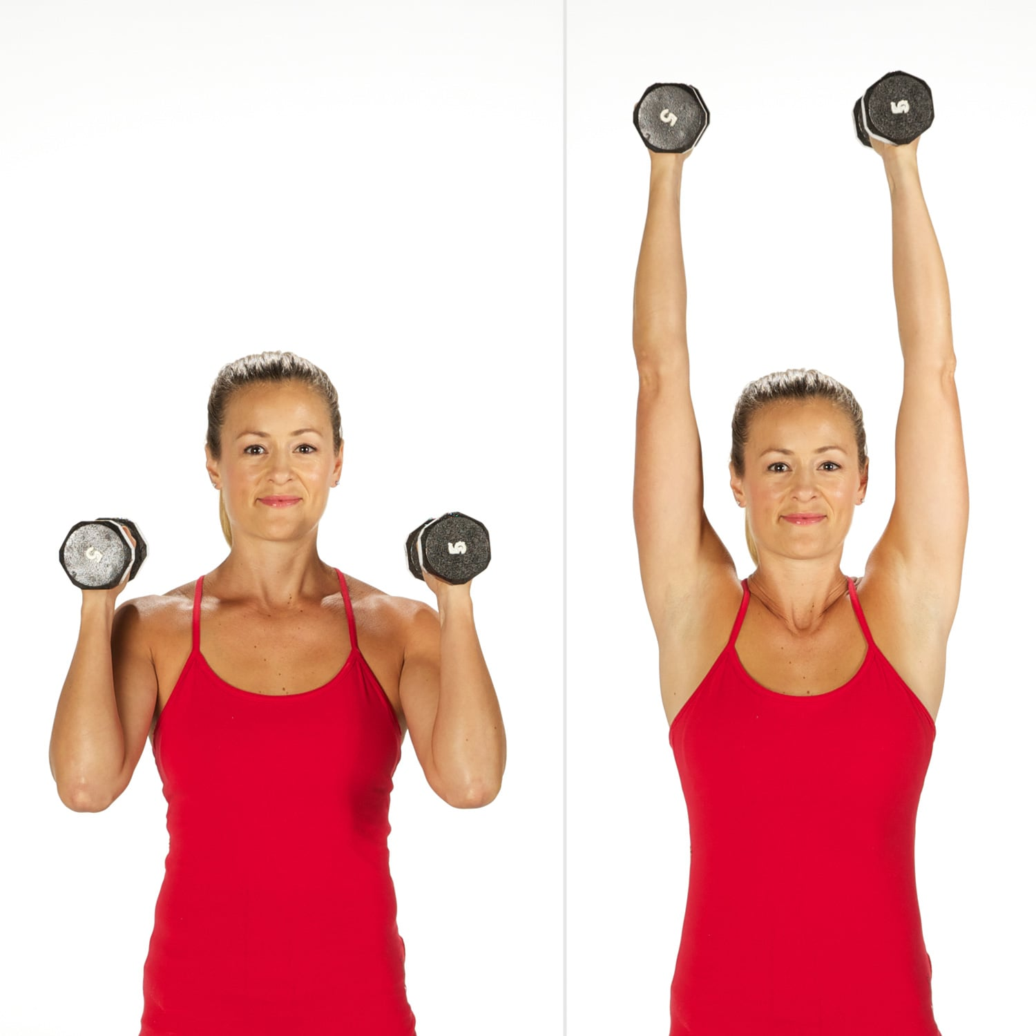 Overhead Shoulder Press   Sculpt and Strengthen Your Arms With This 3-Week  Dumbbell Challenge   POPSUGAR Fitness Photo 4