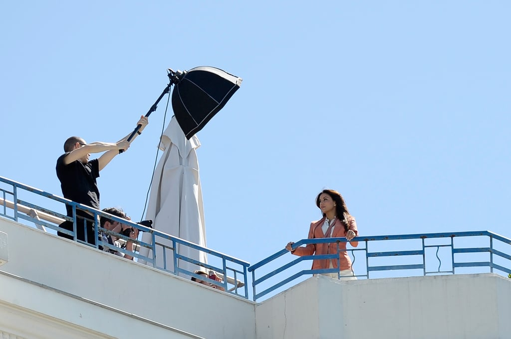 Eva Longoria was on the rooftop of a hotel for a photo shoot at the Cannes Film Festival.