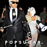 Josh Duhamel and Fergie as Karl Lagerfeld and Choupette