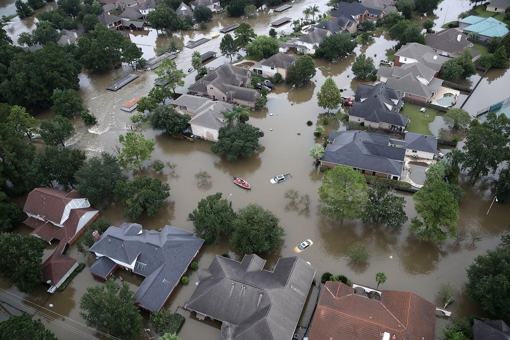 Flooded homes by Lake Houston, TX.