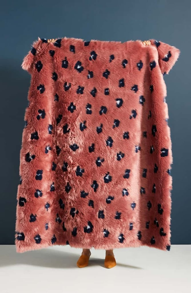 Anthropologie Dalia Faux Fur Throw Blanket