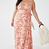Plus-Size Leaf Print Wrap Dress