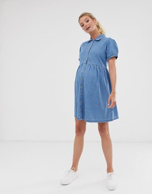 Asos Design Maternity Denim Mini Shirt Dress The Most Stylish Maternity Dresses Of 2020 Popsugar Family Photo 12