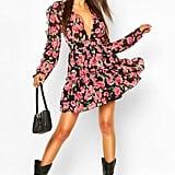 Floral Print Ruffle Sleeve Skater Dress