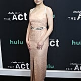 At the premiere of The Act wearing a Marakian dress.