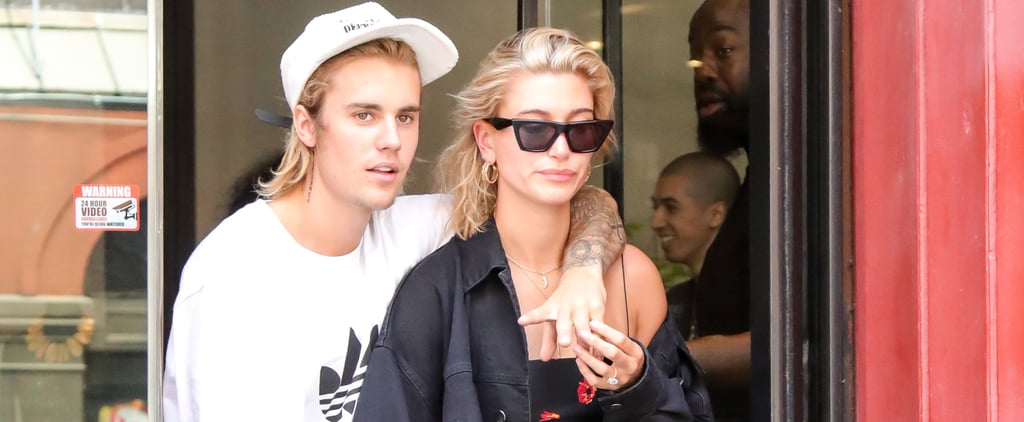 Hailey Baldwin Black Floral Dress With Justin Bieber