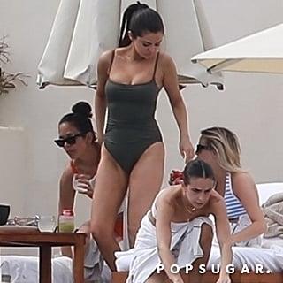 Selena Gomez Gray One-Piece Swimsuit