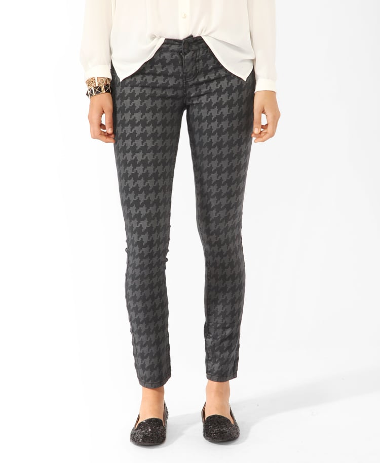 Houndstooth in a funkier gray palette? We're dying to wear these with patent-leather loafers and a slouchy jersey t-shirt. Forever 21 Tonal Houndstooth Ankle Pant ($25)