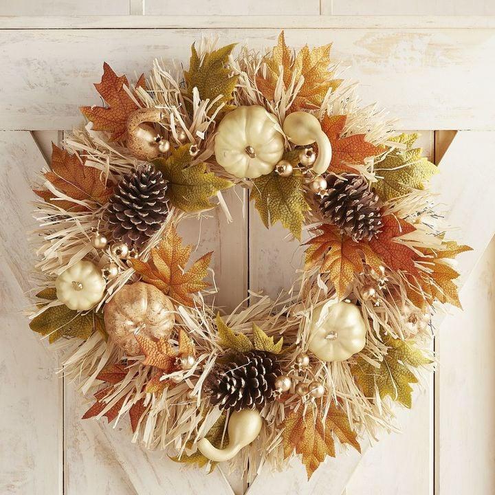 Pier 1 Imports Pumpkin & Raffia Wreath
