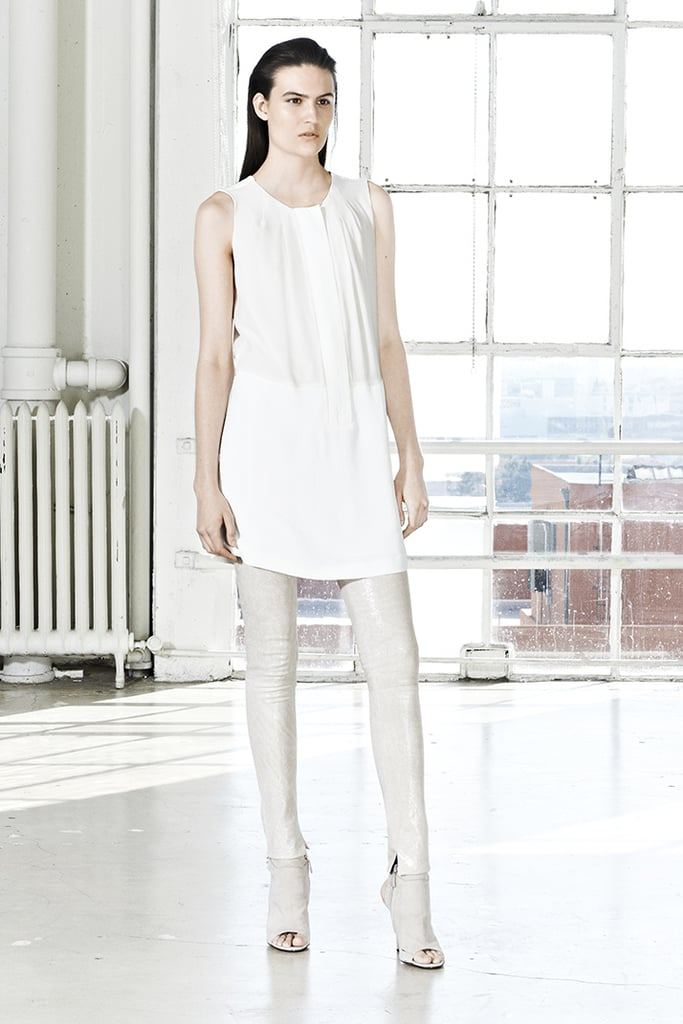 A white tunic plus white leather leggings plus matching peep-toe booties makes for an unexpectedly edgy ensemble.