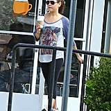 Mila Kunis picked up a coffee after a yoga class in LA.