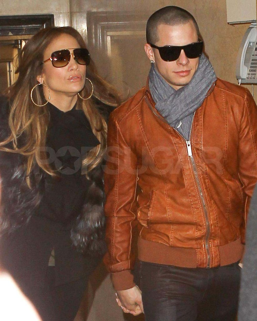 """Jennifer Lopez and her boyfriend Casper Smart stayed close as they left their NYC hotel last night. The duo were in the Big Apple while J Lo promoted her new reality show, ¡Q'Viva! The Chosen, with appearances on The Today Show and The Late Show. J Lo chatted with David Letterman about getting married multiple times saying, """"I believe in love."""" It looks like her current relationship with Casper is going strong, though we'll have to wait and see if he joins her on the red carpet at the Oscars, where she'll be a presenter later this month. J Lo's sexy style is always fun to watch and we can't wait to see what she comes up with for the glamorous award show."""