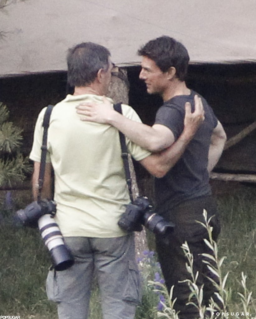 Tom Cruise chatted on the set of Oblivion in June Lake, CA.