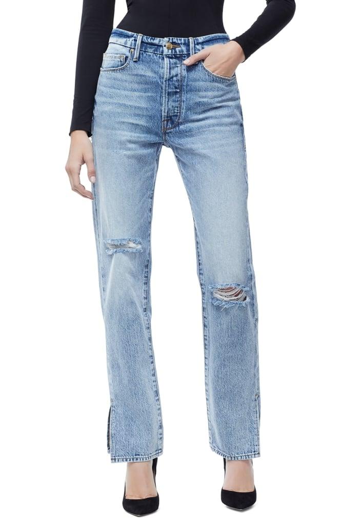 Good American Good Boy Ripped Boyfriend Jeans (Blue 177)