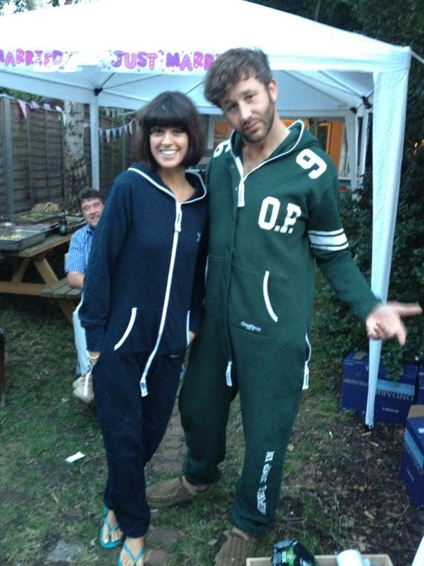 Newlyweds Dawn Porter and The Sapphires star Chris O'Dowd celebrated in matching onesies. Source: Twitter user BigBoyler