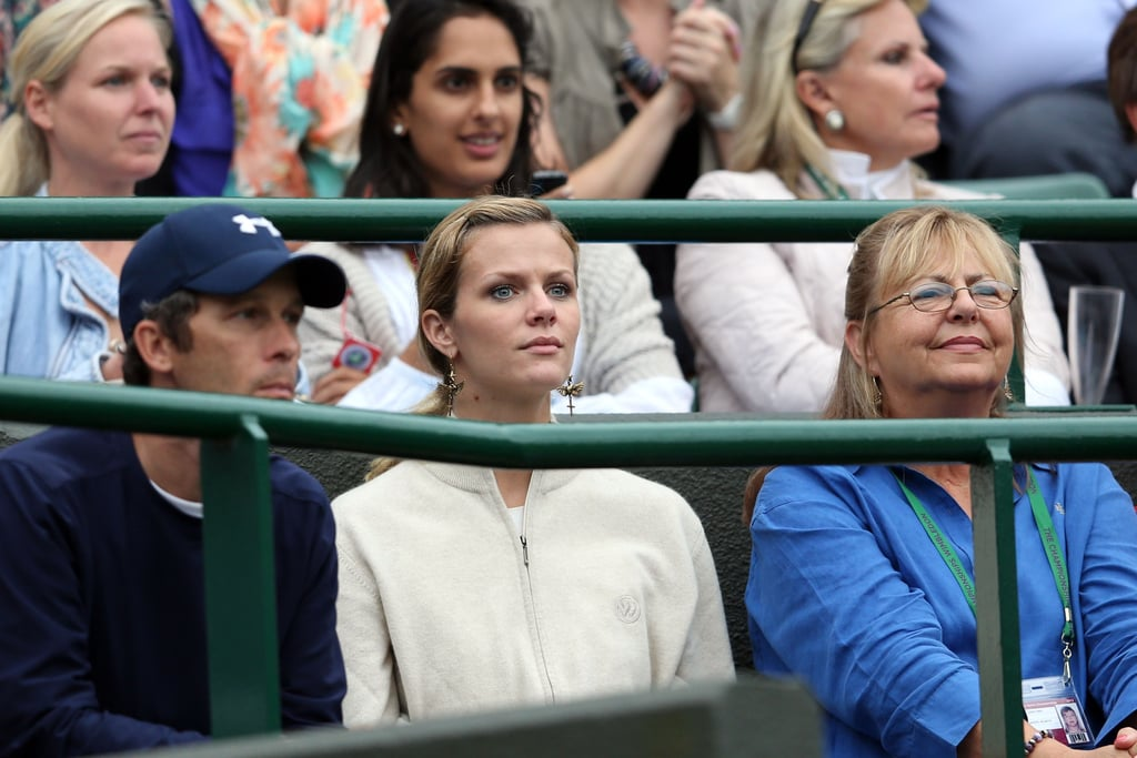 Brooklyn Decker watched Andy Roddick play during Wimbledon.