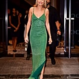 Hailey stunned in this Tommy Hilfiger beaded gown at the Daily Front Row Fashion Media Awards in NYC in September.