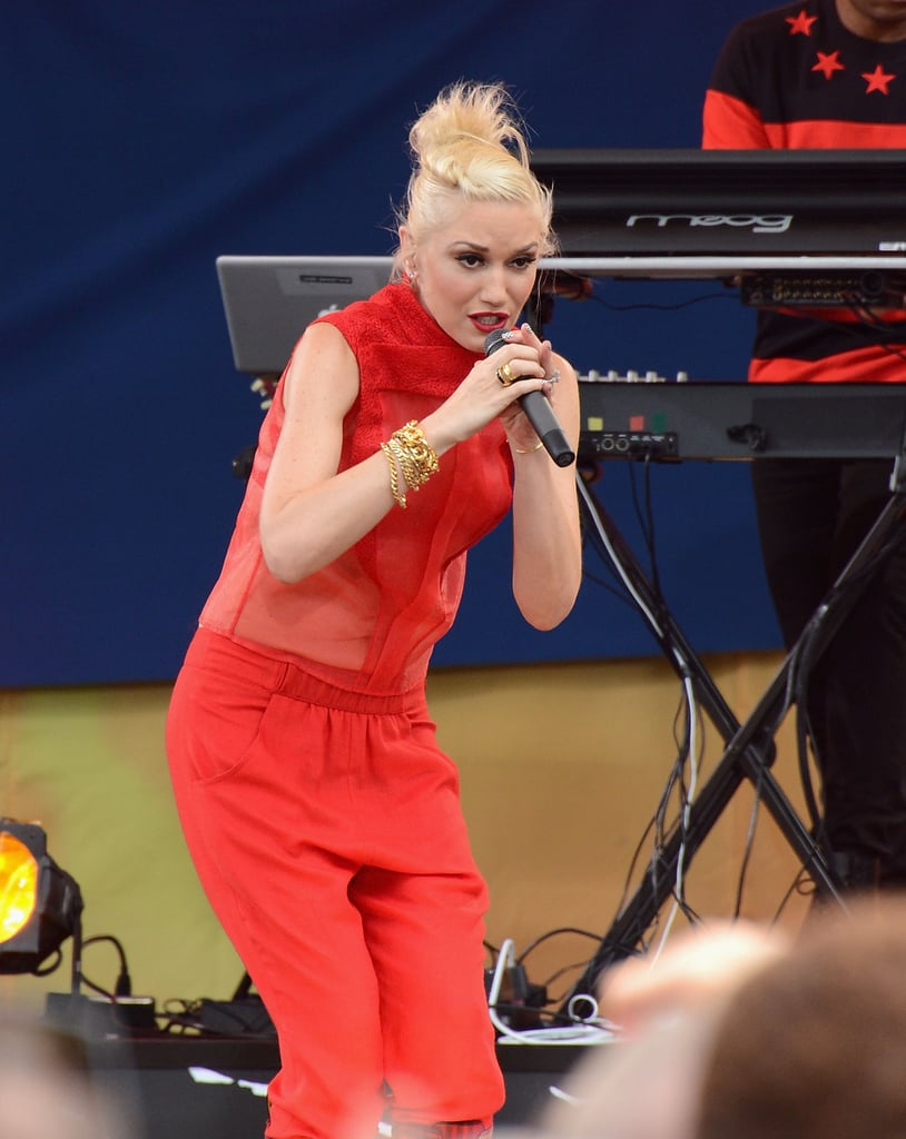 Gwen Stefani performed on stage in a red outfit.