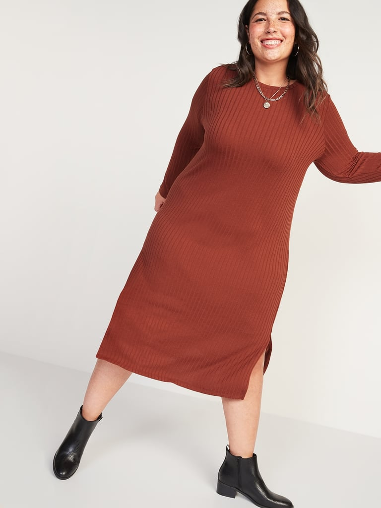 Rib-Knit Long-Sleeve Plus-Size Midi Shift Dress