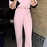 Cameron Diaz wore a pink Emilia Wickstead jumpsuit to attend a dinner party for President Obama in London.