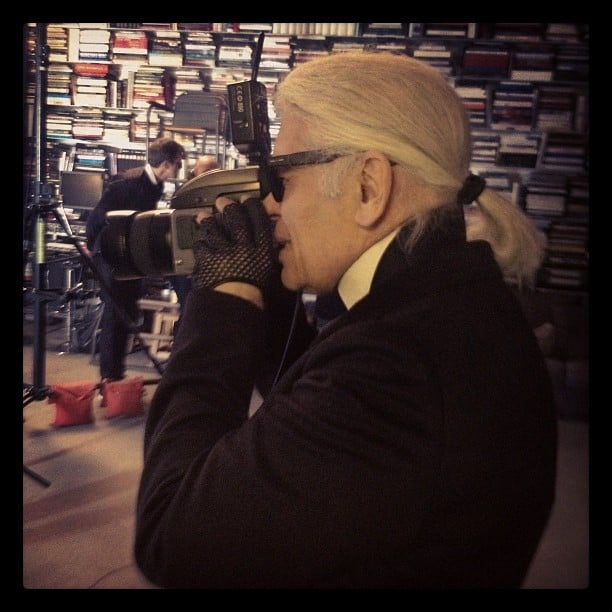 Derek Blasberg hit the set with Karl Lagerfeld. Source: Twitter user DerekBlasberg