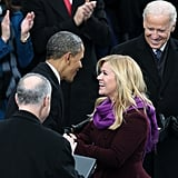 Barack Obama greeted Kelly Clarkson after she performed at the inauguration.