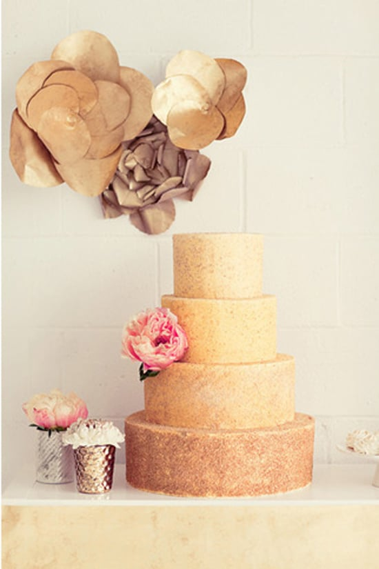 The shape of this cake is as unpretentious as it gets, but the gold color adds a striking touch.