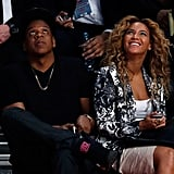 Beyoncé Knowles and Jay-Z attended the NBA All-Star Game in Houston together.