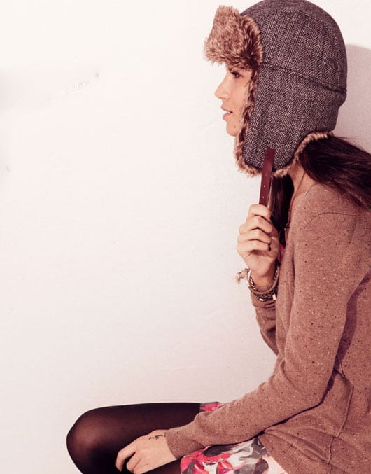 What could be more stylish for Wintery weather than a shearling-lined trapper hat?  Shop the look here.