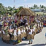 Kate Middleton and Prince William were carried in a raised hut for a farewell ceremony in Tuvalu.