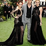 Chris Hemsworth posed for a photo with Kristen Stewart and Charlize Theron.