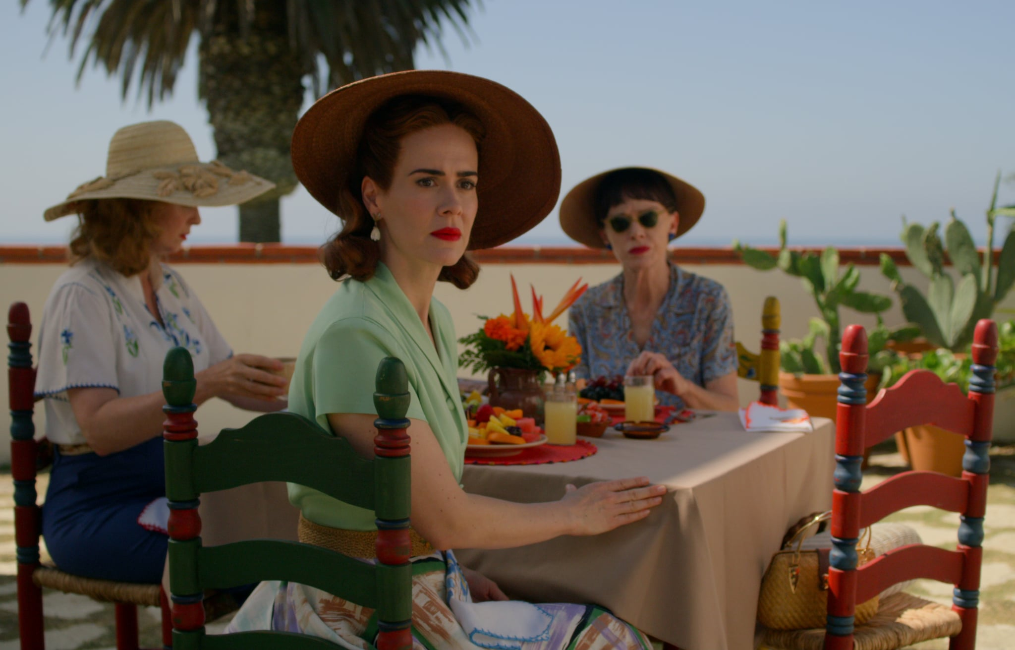 RATCHED (L to R) CYNTHIA NIXON as GWENDOLYN BRIGGS, SARAH PAULSON as MILDRED RATCHED and JUDY DAVIS as NURSE BETSY BUCKET in episode 108 of  Cr. COURTESY OF NETFLIX  2020
