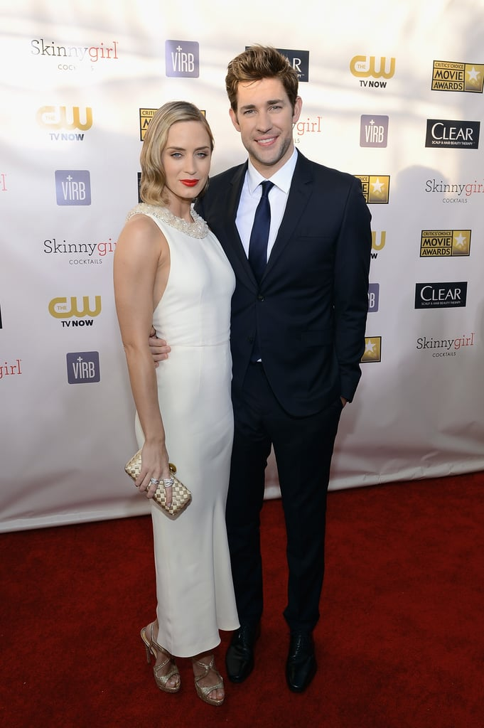 Emily Blunt wore a Miu Miu number to the 2013 Critics' Choice Awards with husband John Krasinski by her side in LA on Thursday night. Emily is nominated for best actress in an action movie for her role in Looper and is up against Judi Dench, Anne Hathaway, Gina Carano, and Jennifer Lawrence in the category. In addition to the Critics' Choice Awards, Emily is nominated for best actress for Salmon Fishing in the Yemen at Sunday night's Golden Globes. Make sure to fill out a Golden Globes ballot before the big show and you could win $1,500 and an iPad mini!