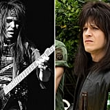 Mick Mars in 1984 and Iwan Rheon in The Dirt