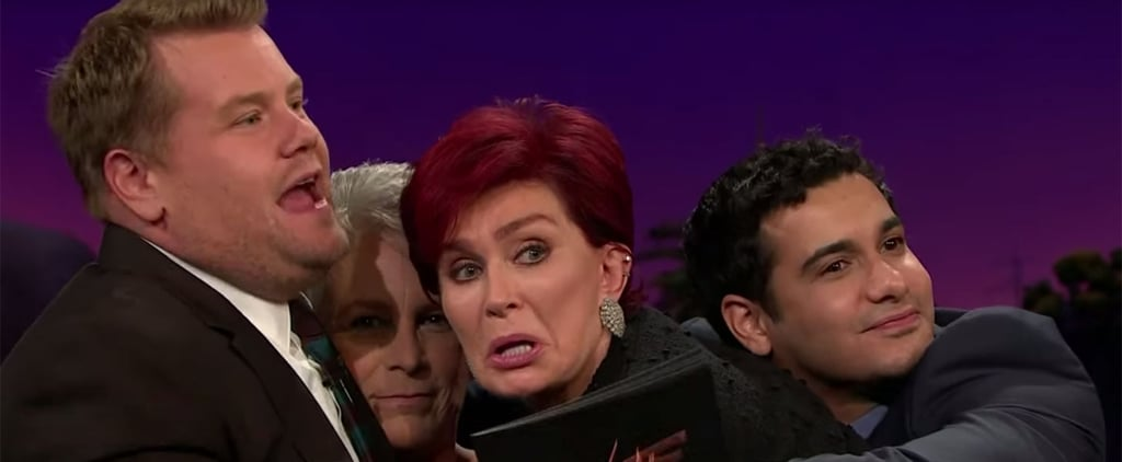 James Corden Cuddles With Jamie Lee Curtis Sharon Osbourne