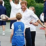 He showed off his sporty side during at a rugby skills workshop in Stockport, England in late June.
