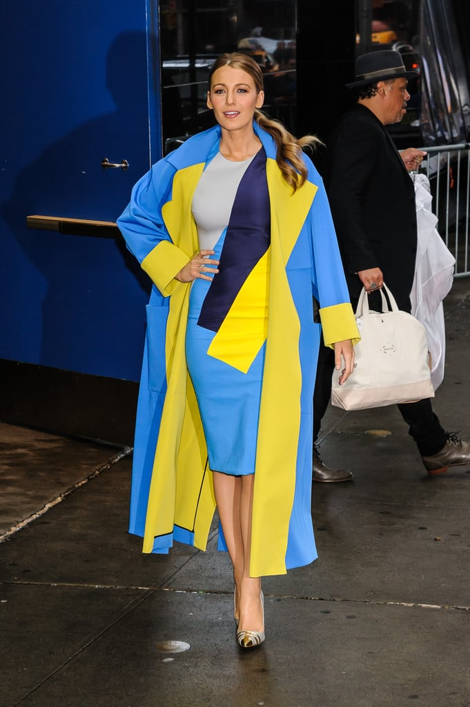 Blake Lively Wearing a Blue Jacket With a Pop of Colour