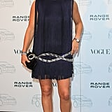 Zara celebrated the 40th anniversary of Range Rover this year in a fringed blue dress.