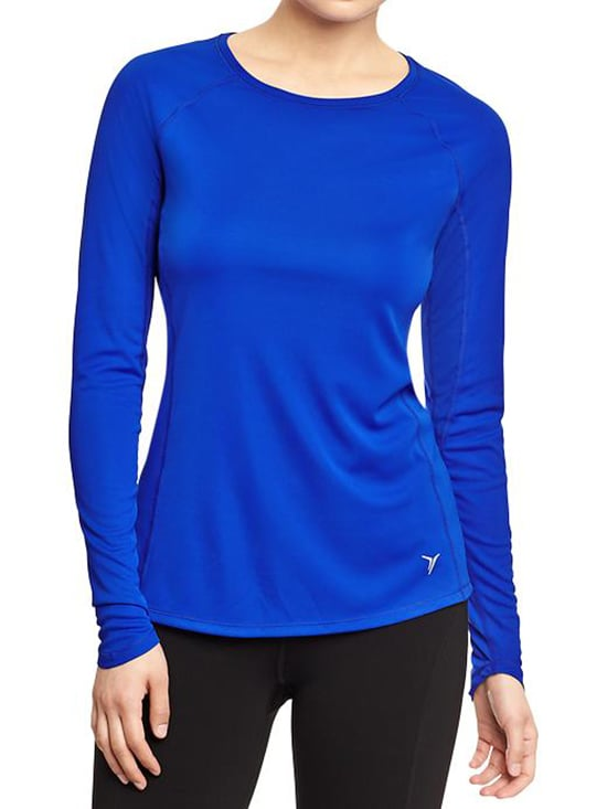 Moisture-wicking fabrics don't have to come with a hefty price tag. This bright blue Old Navy Running Tee ($17) offers a smooth, moisture-wicking fabric plus breathable mesh under your arms and across your back to keep you warm and dry.