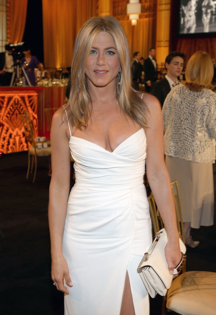 Jennifer Aniston donned a white Burberry gown at an AFI gala.