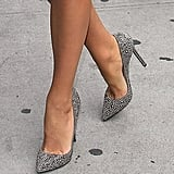 These pumps packed a glam punch with their studded-sequin finish.