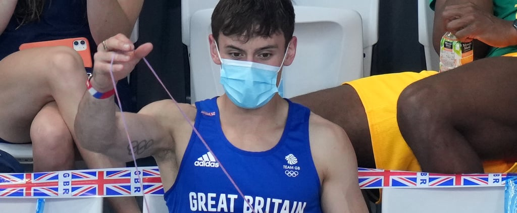 Tom Daley Seen Knitting in Stands at Tokyo Olympics | Photos